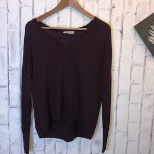 Burgundy Everlane vneck long sleeves wool sweate